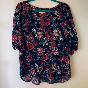 Skies are Blue sheer floral blouse